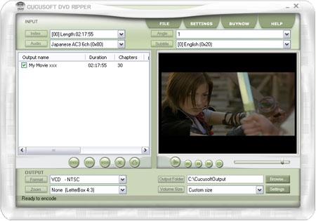 Cucusoft DVD Ripper,convert DVD to VCD, DVD to AVI, DVD to