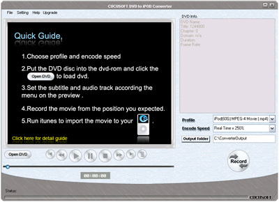 Click to view Cucusoft DVD to iPod Converter 8.08 screenshot